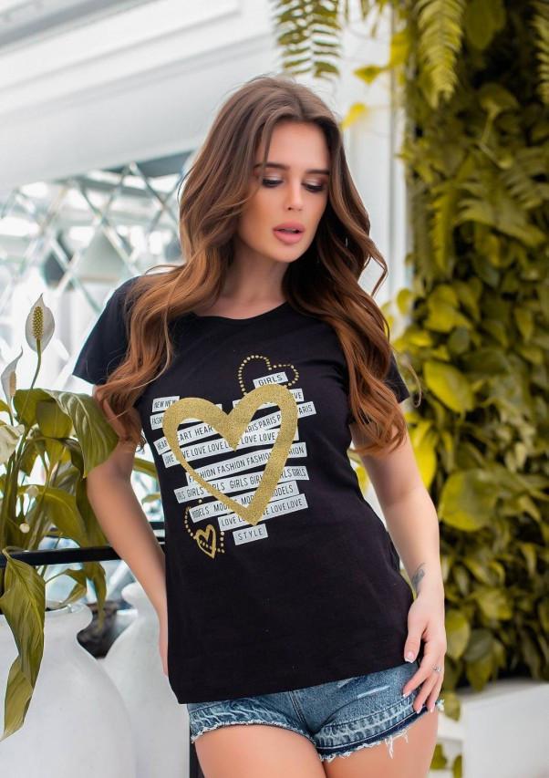 Черная трикотажная футболка с блестящим декором S