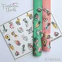 Декор для ногтей  Fashion Nails водные наклейки 3D слайдер-дизайн цветы (3D/116)