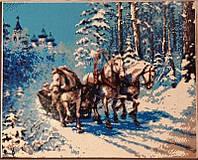50х40 см алмазная мозаика ТРОЙКА вышивка картина кони мозаїка діамантова вишивка трійка коней 50 х 40