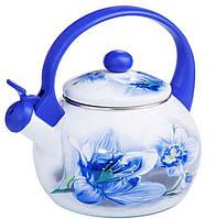 СКИДКА! Чайник индукционный 2,2 литра эмалированный со свистком для плиты «Орхидея» Zauberg