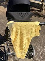 Вязанный детский плед в коляску Желтенький