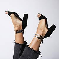 Босоножки женские чёрные на каблуке с золотыми ремешками Laura Franchi Украина/Италия