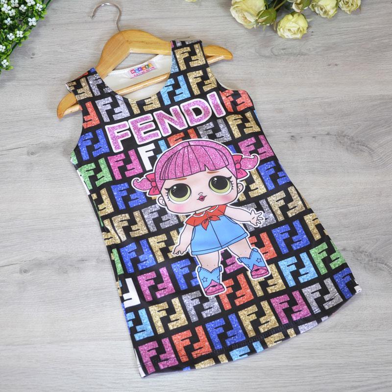 Летняя трикотажная майка LOL на хлопковой подкладке, для девочек 3-4, 5-6, 7-8, 9-10 лет  (4 ед. в уп.)