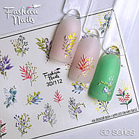 Декор для ногтей  Fashion Nails водные наклейки 3D слайдер-дизайн цветы (3D/112)