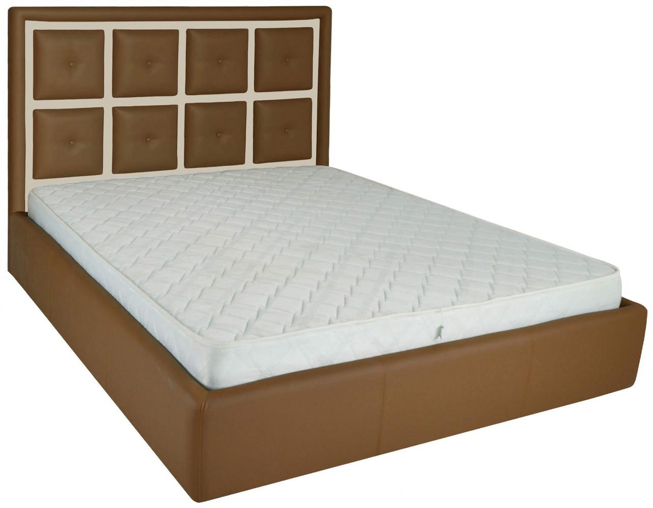 Ліжко Richman Віндзор 140 х 200 см Флай 2213/2207 З підйомним механізмом і нішею для білизни Коричнева+Бежева