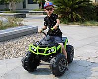 Детский квадроцикл M 3156 EBLR-2-5, колеса EVA, кожаное сиденье, черно-зеленый