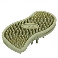 Щетка Safari Massager массажная, для собак и котов, резина, зеленая