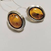 Серебряные серьги с натуральным янтарем Алиша, фото 1
