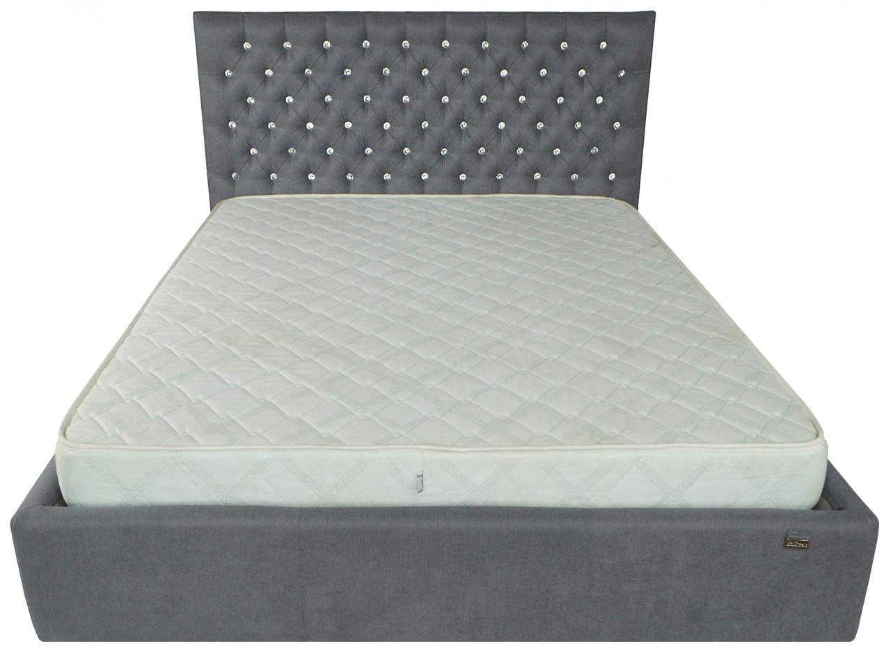 Ліжко Richman Кембридж 140 х 190 см Fibril 16 С1 З підйомним механізмом і нішею для білизни Темно-сіра