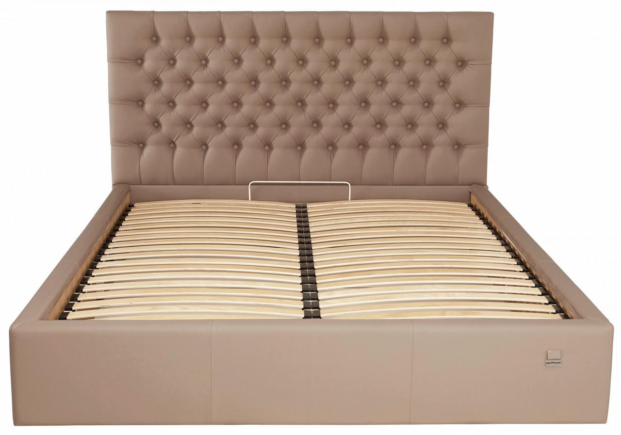 Кровать Richman Кембридж 140 х 190 см Флай 2213 С подъемным механизмом и нишей для белья Светло-коричневая