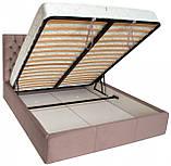Кровать Richman Кембридж 140 х 200 см Missoni 021 С подъемным механизмом и нишей для белья Темно-розовая, фото 4