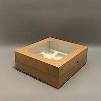 Коробка для 9 капкейков 250х240х90 мм (с окном) крафт