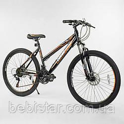 Спортивный велосипед черный с оранжевым CORSO 26 дюймов 21 скорость металлическая рама 16 дюймов