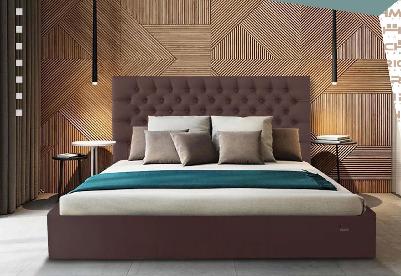Кровать Двуспальная Richman Кембридж 160 х 190 см Флай 2231 Темно-коричневая