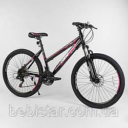 Спортивный велосипед черный с розовым CORSO 26 дюймов 21 скорость металлическая рама 16 дюймов