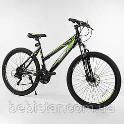 Спортивный велосипед черный с зеленым CORSO 26 дюймов 21 скорость металлическая рама 16 дюймов