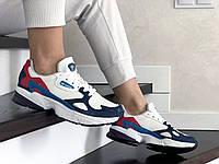 Кросівки жіночі Adidas Falcon білі із синім\червон