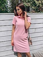 Коротка сукня плаття поло з комірцем / короткое платье поло с воротником розовое