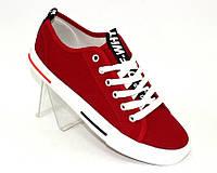 Красные подростковые кеды для мальчиков на шнуровке