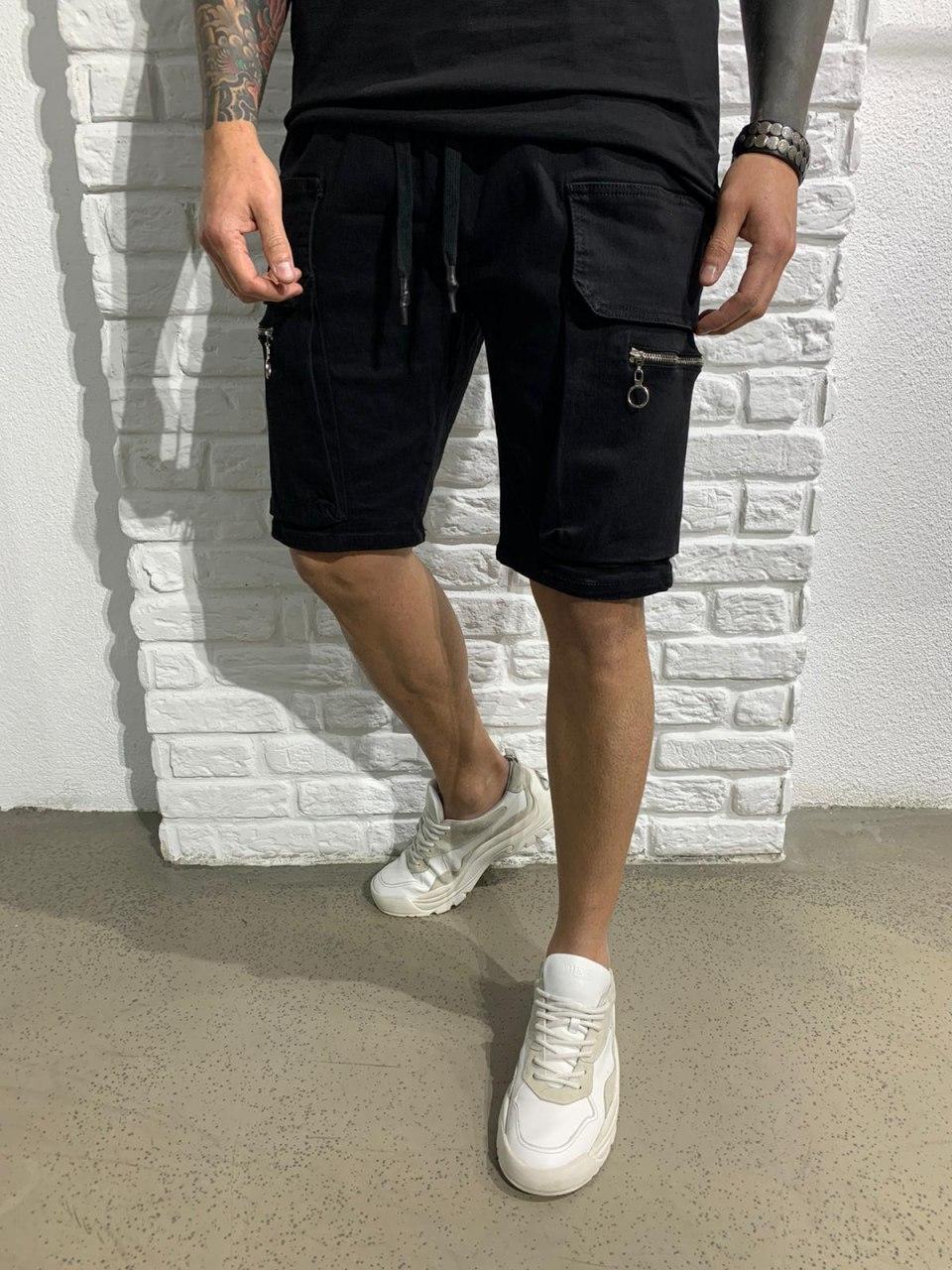😜 Шорти - Чоловічі шорти чорні з блискавкою на кишені