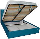 Кровать Richman Ковентри 140 х 190 см Missoni 016 С подъемным механизмом и нишей для белья Голубая, фото 4
