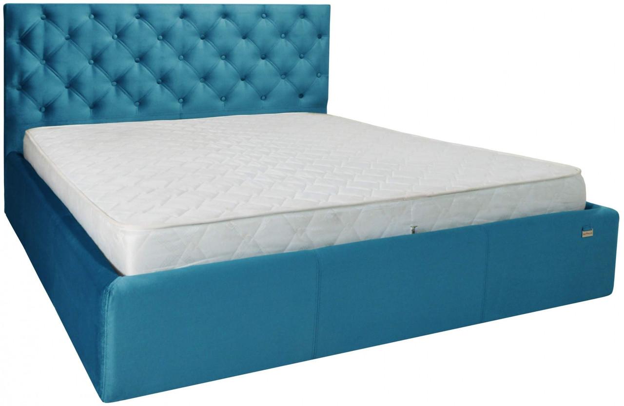 Кровать Richman Ковентри 140 х 200 см Missoni 016 С подъемным механизмом и нишей для белья Голубая