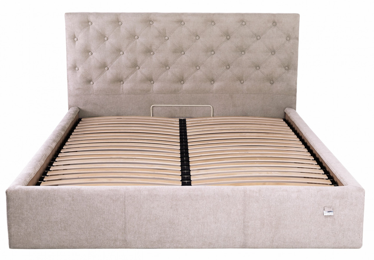 Кровать Двуспальная Richman Ковентри 160 х 190 см Мисти Mocco С подъемным механизмом и нишей для белья Серая