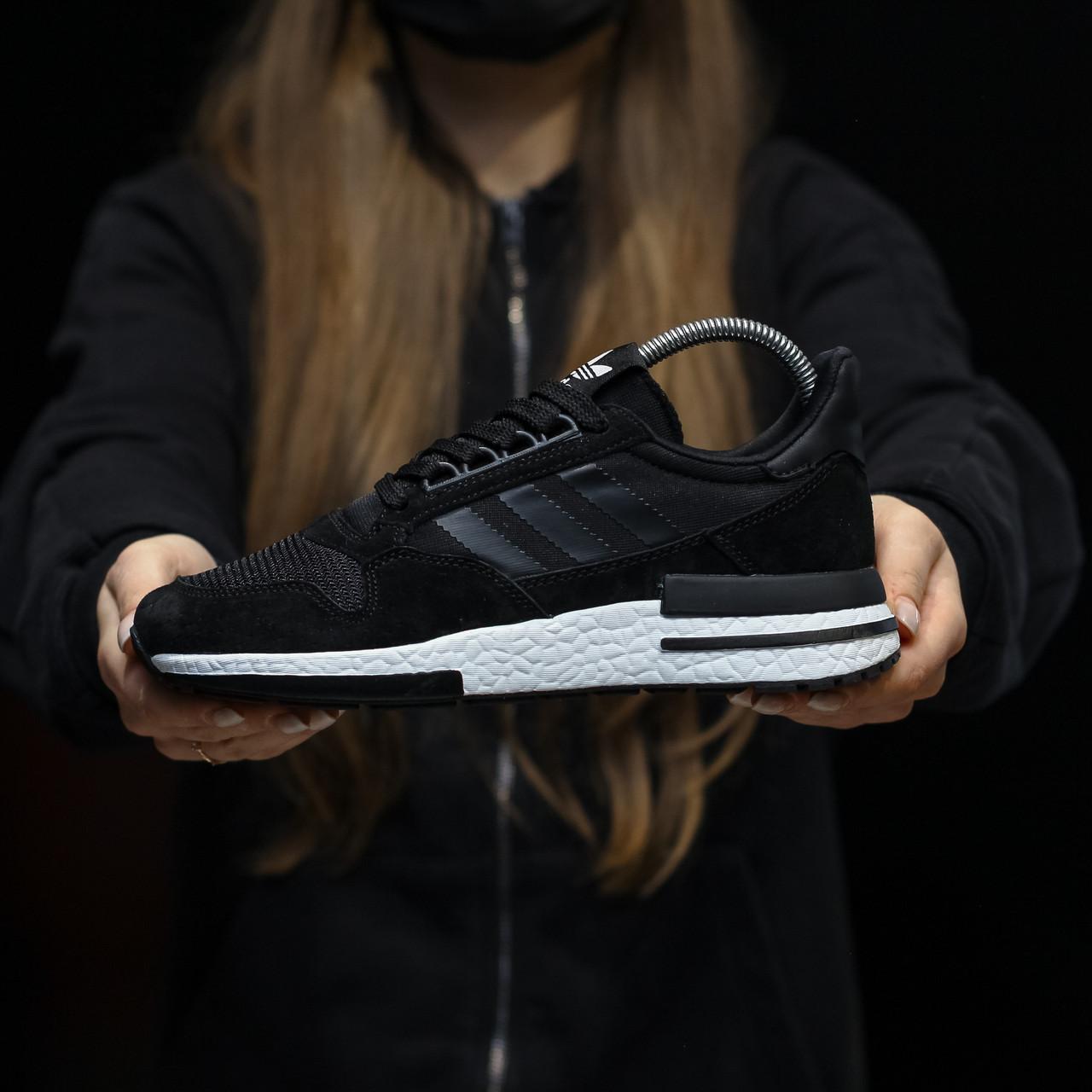 Стильные кроссовки Adidas ZX 500 Black White / Адидас