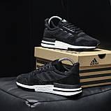 Стильні кросівки Adidas ZX 500 Black White / Адідас, фото 7