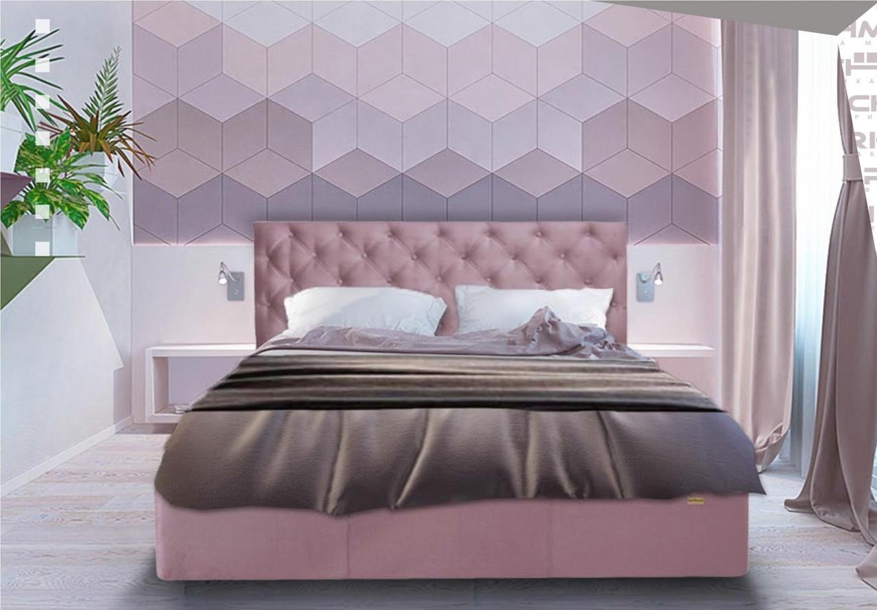 Кровать Двуспальная Richman Ковентри 160 х 200 см Missoni 021 Темно-розовая