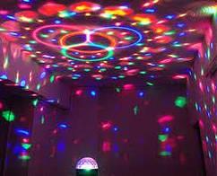 Диско шар Disco светомузыка с Bluetooth и MP3 (флешка + пульт)