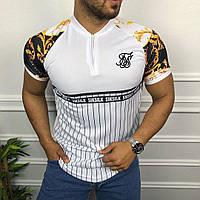 😜 Футболка - Мужская футболка белая с молнией Siksilk