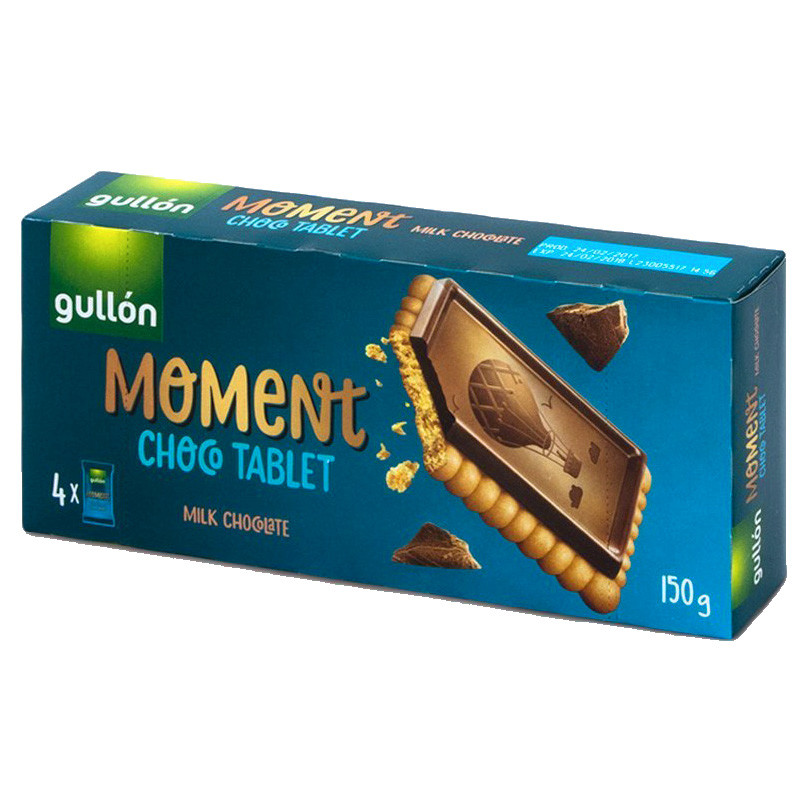 Печиво GULLON MOMENT Chocotablet, з молочним шоколадом 150г, 12шт/ящ