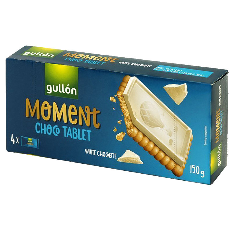 Печиво GULLON Chocotablet Moment, з білим шоколадом 150г, 12шт/ящ
