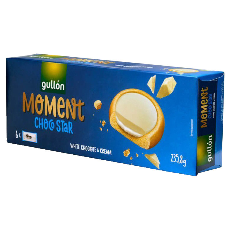 Печиво GULLON Chocostar Moment, з білим шоколадом 235г, (16шт)