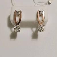Серьги из серебра и золота с цирконами Шерри, фото 1