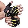 Перчатки для фитнеca HARD TOCH FG-006 (PVC, PL, открытые пальцы, р-р S-XL, черный-желтый)