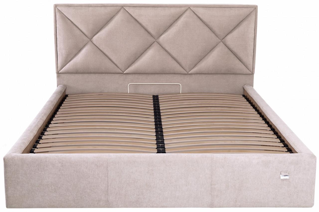 Кровать Richman Лидс 140 х 190 см Мисти Mocco С подъемным механизмом и нишей для белья Серая