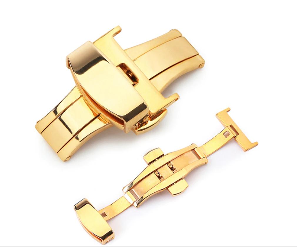 Застежка-бабочка из нержавеющей стали 316L золотистая для ремешка. 20 мм