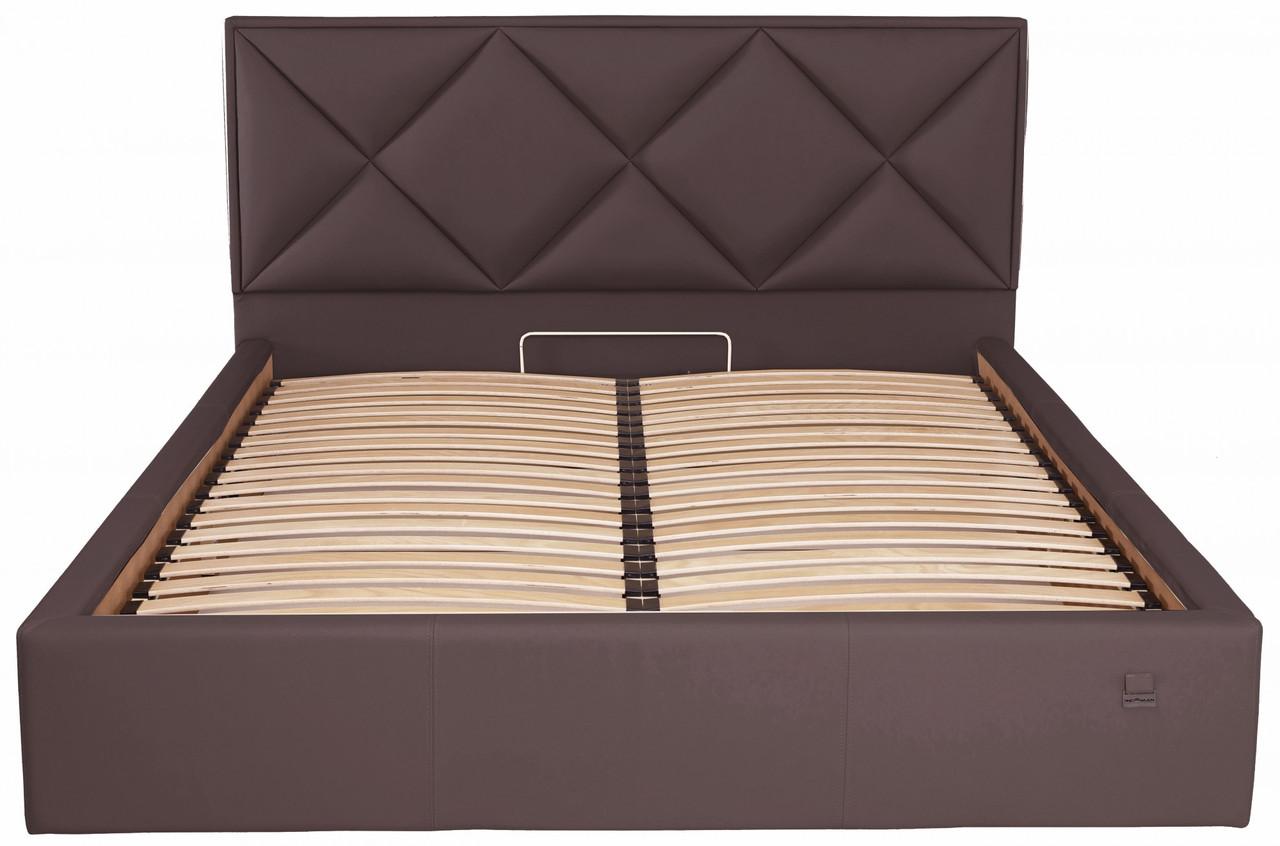 Кровать Двуспальная Richman Лидс 160 х 190 см Флай 2231 С подъемным механизмом и нишей для белья Темно-коричневая