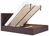 Кровать Двуспальная Richman Лидс 160 х 190 см Флай 2231 С подъемным механизмом и нишей для белья Темно-коричневая, фото 7
