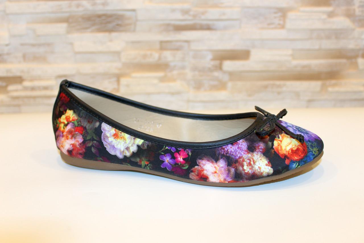 Балетки туфли женские с цветами Т252
