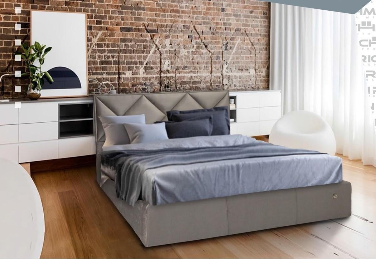 Кровать Двуспальная Richman Лидс 180 х 190 см Missoni 008 С подъемным механизмом и нишей для белья Серая