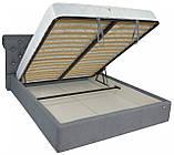 Кровать Richman Лондон 140 х 190 см Fibril 16 C1 С подъемным механизмом и нишей для белья Темно-серая, фото 4