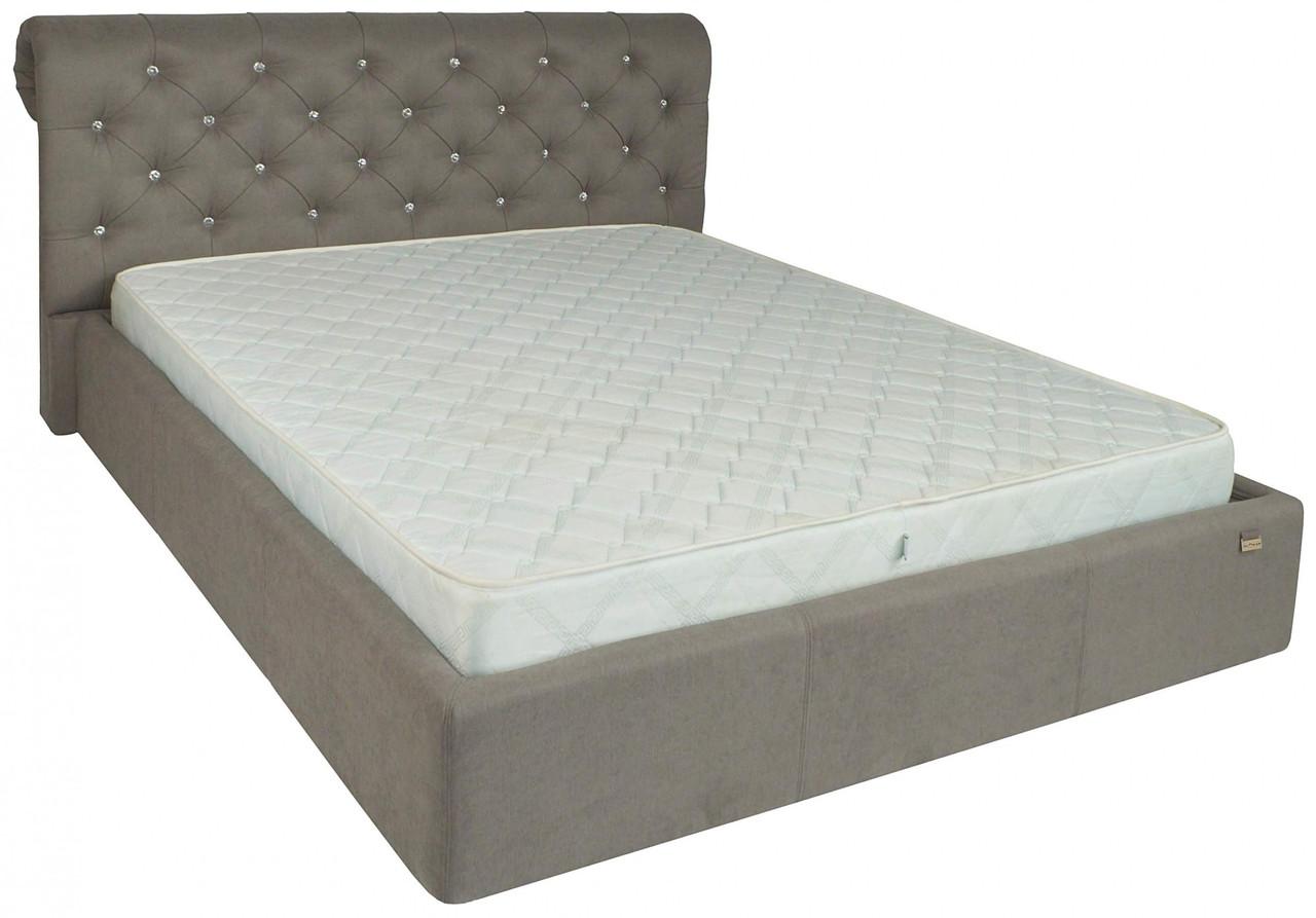 Кровать Двуспальная Richman Лондон 160 х 190 см Fibril 12 C1 С подъемным механизмом и нишей для белья Серая