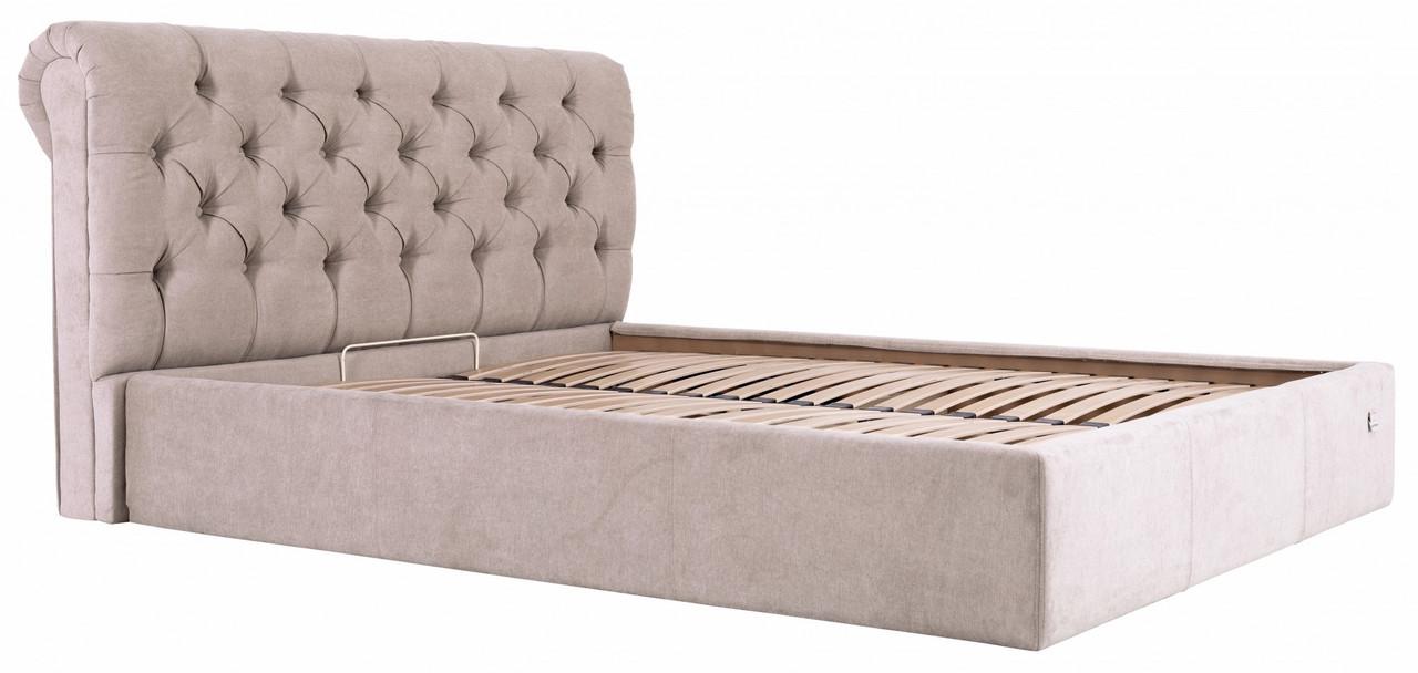 Кровать Двуспальная Richman Лондон 180 х 200 см Мисти Mocco С подъемным механизмом и нишей для белья Серая