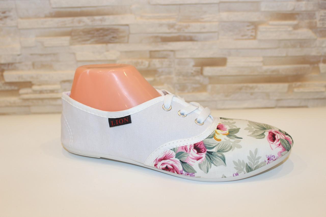 Кеды женские в цветочек белые Т039-1