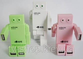 Робот -USB хаб (розовый_