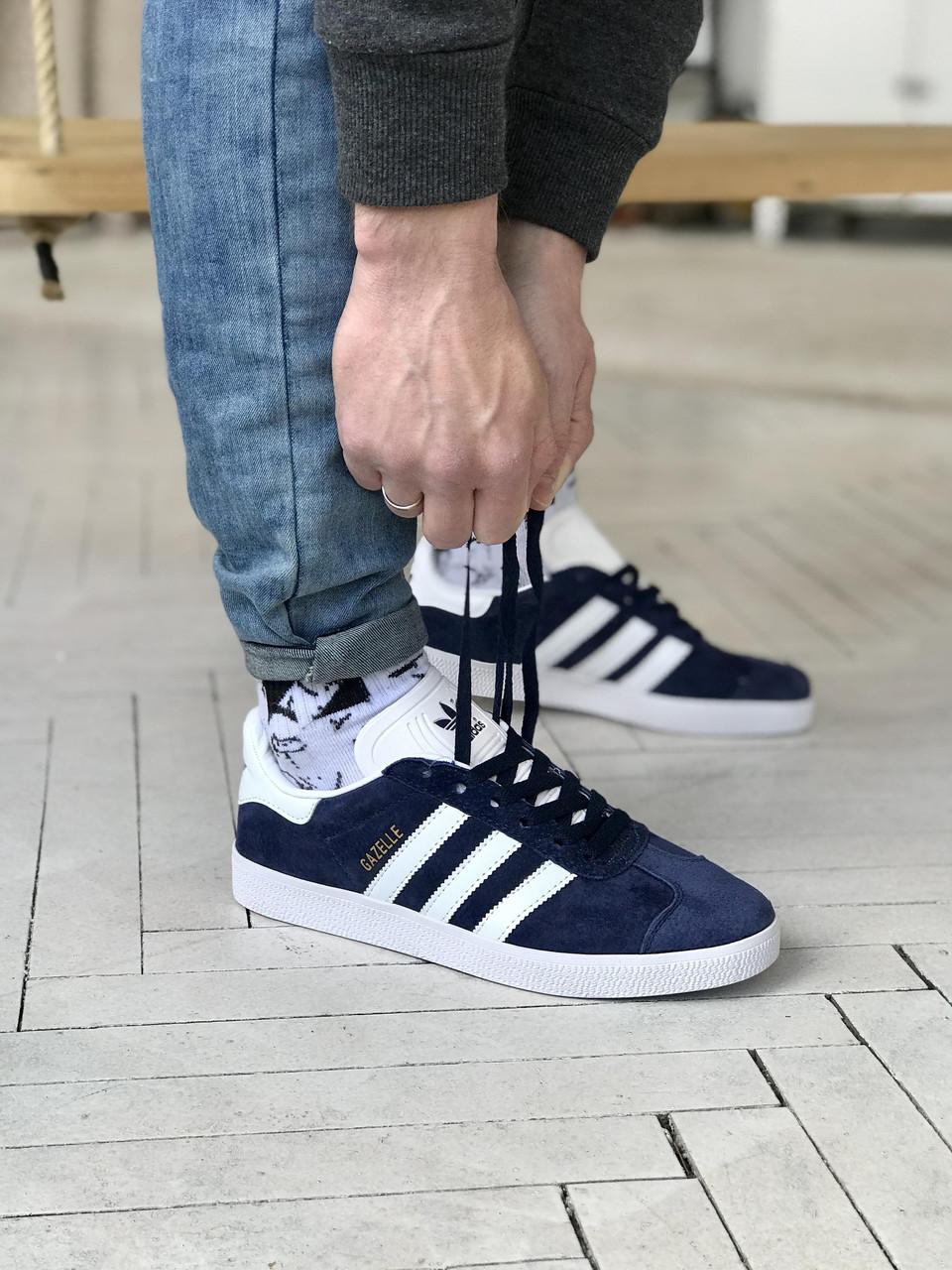 Стильные кроссовки Adidas Gazelle Blue / Адидас газели синие