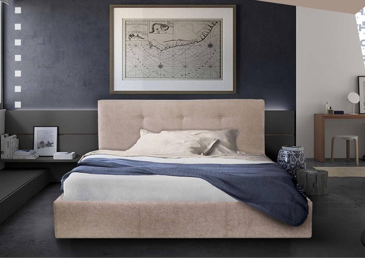 Кровать Двуспальная Richman Манчестер 180 х 190 см Мисти Mocco С подъемным механизмом и нишей для белья Серая
